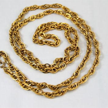 "Long gold Trifari chain necklace, shiny rope chain 54"" excellent, vintage signed, chunky, twisted pattern"