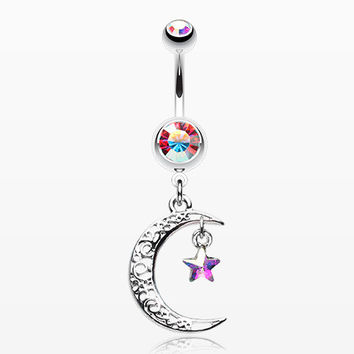 Crescent Filigree Moon Star Sparkle Belly Button Ring