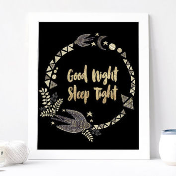 Good Night Sleep Tight Poster, Black And White, Gold, Golden, Chalkboard, Boho Bohemian, Wreath, Feather, Moon, Stars, Night, Bird, Ethnic