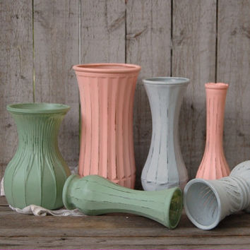 Shabby Chic Vases, Blush Coral, Sage Green, Grey, Painted, Distressed, Glass, Wedding Decor, Set of 6