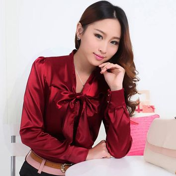 Korean Fashion Women OL Work Office Satin Chiffon Blouse Elegant Lace Up Bow Tie Collar Long Sleeve Shirt Women Tops White Red