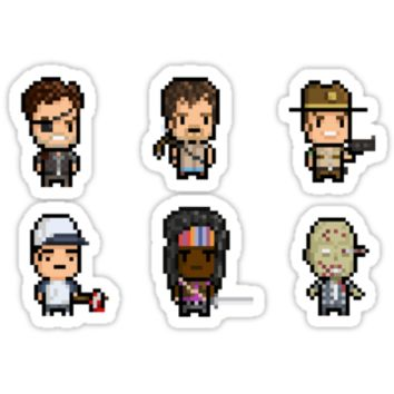 Walking Dead Pixel Art Sticker Set by pixelkraft