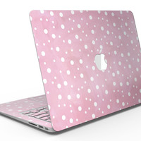 The Pink Watercolor Surface with White Polka Dots - MacBook Air Skin Kit