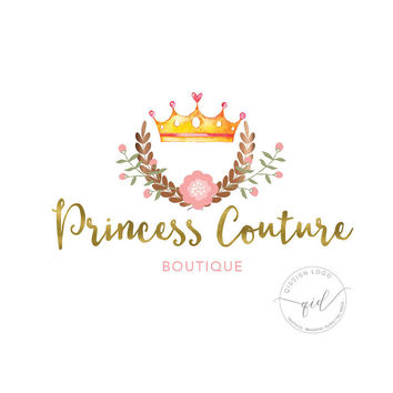 Logo, watercolor crown with wreath logo, boutique logo, business card sign, watermark for photography, princess logo design