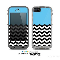 The Solid Blue with Black & White Chevron Pattern Skin for the Apple iPhone 5c LifeProof Case