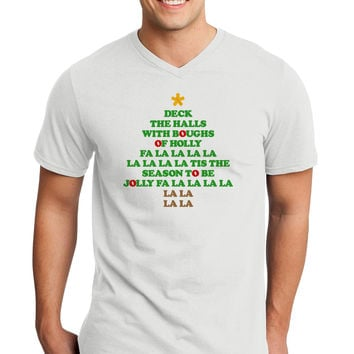Deck the Halls Lyrics Christmas Tree Adult V-Neck T-shirt