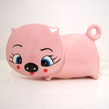 Ceramic Pig Napkin Holder Vintage Design