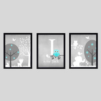 Gray Aqua White Enchanted Forest with Owl and Elephant, CUSTOMIZE YOUR COLORS 8x10 Prints, set of 3, nursery decor art baby room decor