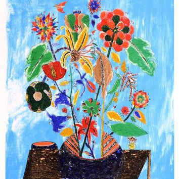 Bouquet - Limited Edition Lithograph on Paper by Ovadia Alkara