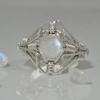 """Rainbow Moonstone Ring of the Elements"" Wire Wrapped USA"