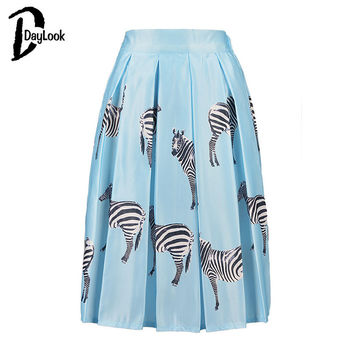 DayLook 2016 Summer Style Kawai Cartoon Pleated Skirt Zebra Print High Waist Skirts Womens Skater Skirt Tutu  Elegant Saia