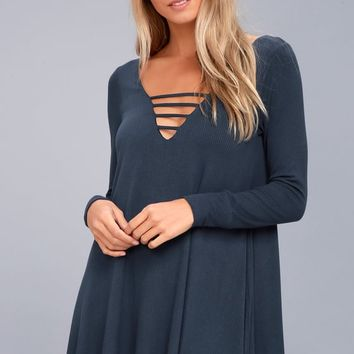 Lucy Love Great Day Washed Navy Blue Swing Dress