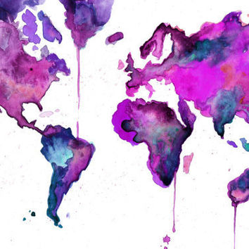 Watercolor Map Illustration  World Map No 8 by JessicaIllustration