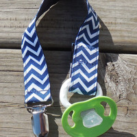 Navy Blue Chevron Ribbon, Chevron Pacifier Holder, Binky Clip, Pacifier Clip or Toy Clip