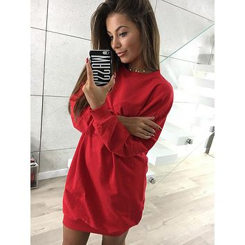 Red casual crew neck sweater long-sleeved dress