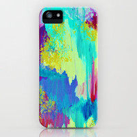 SUGARY GOODNESS - Lovely Cotton Candy Sweet Dreams Colorful Rainbow Abstract Chevron Ikat Painting iPhone Case by EbiEmporium | Society6