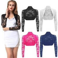 Clothing Accessories Floral Lace Shrug Wedding Bolero Long Sleeve Coat Cardigan Crop Top (Size Up) Ship From US/UK/AU [8323208001]