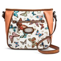 Women's Butterfly Print Crossbody Handbag - White/Coral