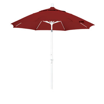 9 Foot Sunbrella 3A Fabric Fiberglass Rib Crank Lift Collar Tilt Aluminum Patio Umbrella with White Pole