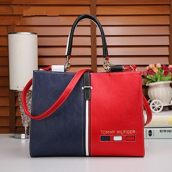"""Tommy Hilfiger"" Personality Fashion Multicolor Single Shoulder Messenger Bag Women Big Handbag"