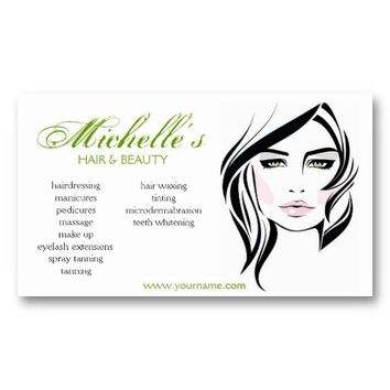 Hair & Beauty salon, green business card design from Zazzle.com