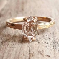Solid 14 Karat Rose Gold Herkimer Diamond Ring - Rose Gold Engagement Ring - Rose Gold Ring - Rough Stone Ring - Raw Crystal Ring