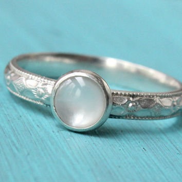 White mother of pearl sterling silver stacking ring, diamond pattern, stackable, wedding anniversary, promise, bridesmaid gift