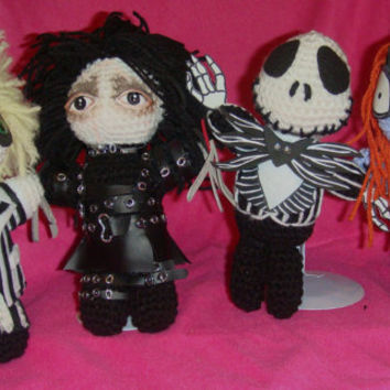 NERD DOLLZ Jack Skellington,Sally, Beetlejuice, & Edward Scissorhands Tim Burton AmigurumiI Crochet doll, Handmade, Great for the Holidays