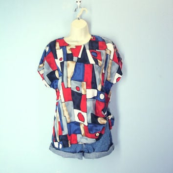 80s Slouchy Tee Blouse Soft Rayon Abstract Print Cap Sleeves Tshirt
