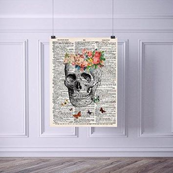 Skull with Flowers and Butterflies Vintage Dictionary Style Art Print | Unframed | 8.5 x 11