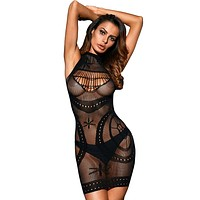 Black Sleeveless Sheer Mesh Lingerie Dress