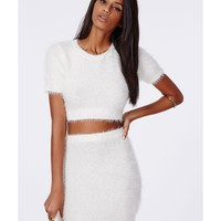 Missguided - Alycia Fluffy Knit Cropped Jumper Cream