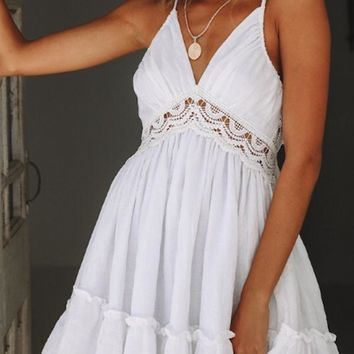Spaghetti Strap  Cutout  Back Hole  Plain  Sleeveless Skater Dresses