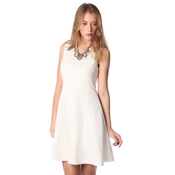 White midi skater dress with herringbone detail
