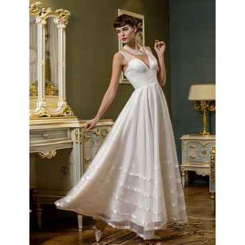 A-Line Plunging Wedding Dress Neckline Ankle Length Organza Tulle Bridal Gown with Sash Ribbon Side-Draped