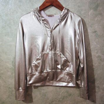90s Vintage Steve Madden Silver Metallic Hoodie, Zip Up with Hood, Liquid Metal Top, Lightweight Jacket, 90s Jacket