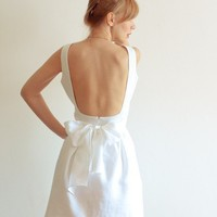 Low Back White Linen Dress with Pockets  Perfect Fit by LanaStepul