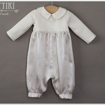 Christening Silk Romper - Baptism Romper - Baby Boy Baptism Outfit - Ivory Boys Outfit