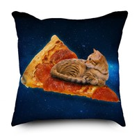 Pizza Cat Chilling in Space Pillow