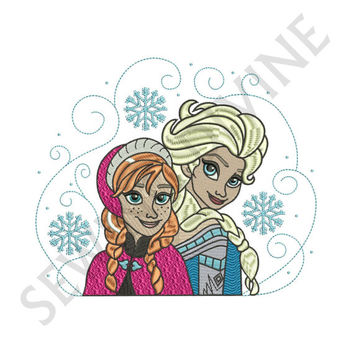 Elsa and Anna Embroidery Fill Design Download for 4x4 5x7 6x10 Hoops Ice Queen Sisters Frozen Inspired