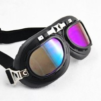 Vintage Style Military WWII RAF Pilot Black Frame Dazzling Color Arced Angle Lens Elastic Strap Padded Frost Free Unisex Men Women UV Protection Goggles For Motorcycle BMX ATV Dirt Bike Biker Helmet Decoration Ice Ski Snowboard Cross Country Skiing
