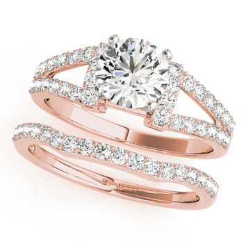 Engagement Ring -Petite Split Band Diamond Bridal Set in Rose Gold-ES2022RGBS