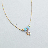 Gold necklace, opal necklace,star of david necklace ,14k gold filled , blue opal necklace  10040