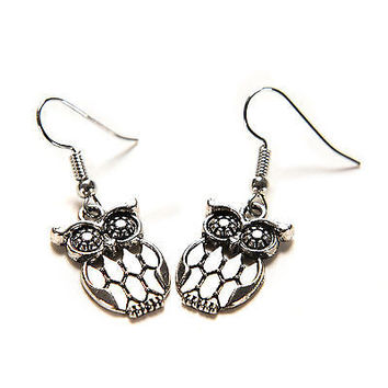 Cute Silver Plated Night Owl Earrings Women Girl Surgical Steel Hook Dangle SH3