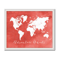 Travel Art Print, World Map Poster, Red and White Nursery Decor, Bedroom Decor, Adventure, Playroom Decor, Colorful Map Print