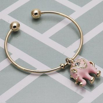 Gold Layered Women Elephant Individual Bangle, with White Crystal, One size fits all by Folks Jewelry