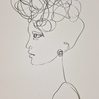 Wire wall Art: Sunny day, woman profile, portrait -  wall hanging sculpture.