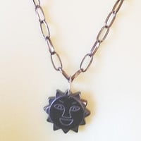 sun face stone pendant necklace black chain goth unisex handmade celestial jewelry