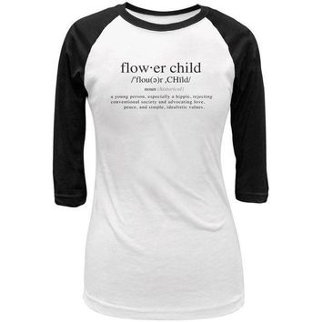ESBGQ9 Flower Child Definition Juniors 3/4 Sleeve Raglan T Shirt