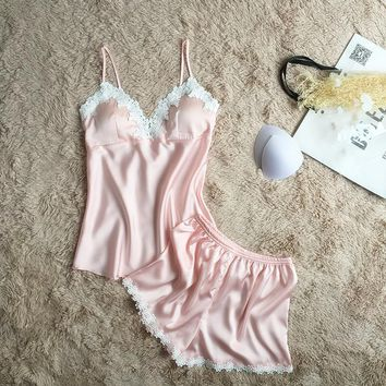 Women Pajamas Satin Sleepwear Spaghetti Strap with Chest Pads Silk Pijama Sexy Lace Sleep Lounge Nightwear Pyjama Home Clothing